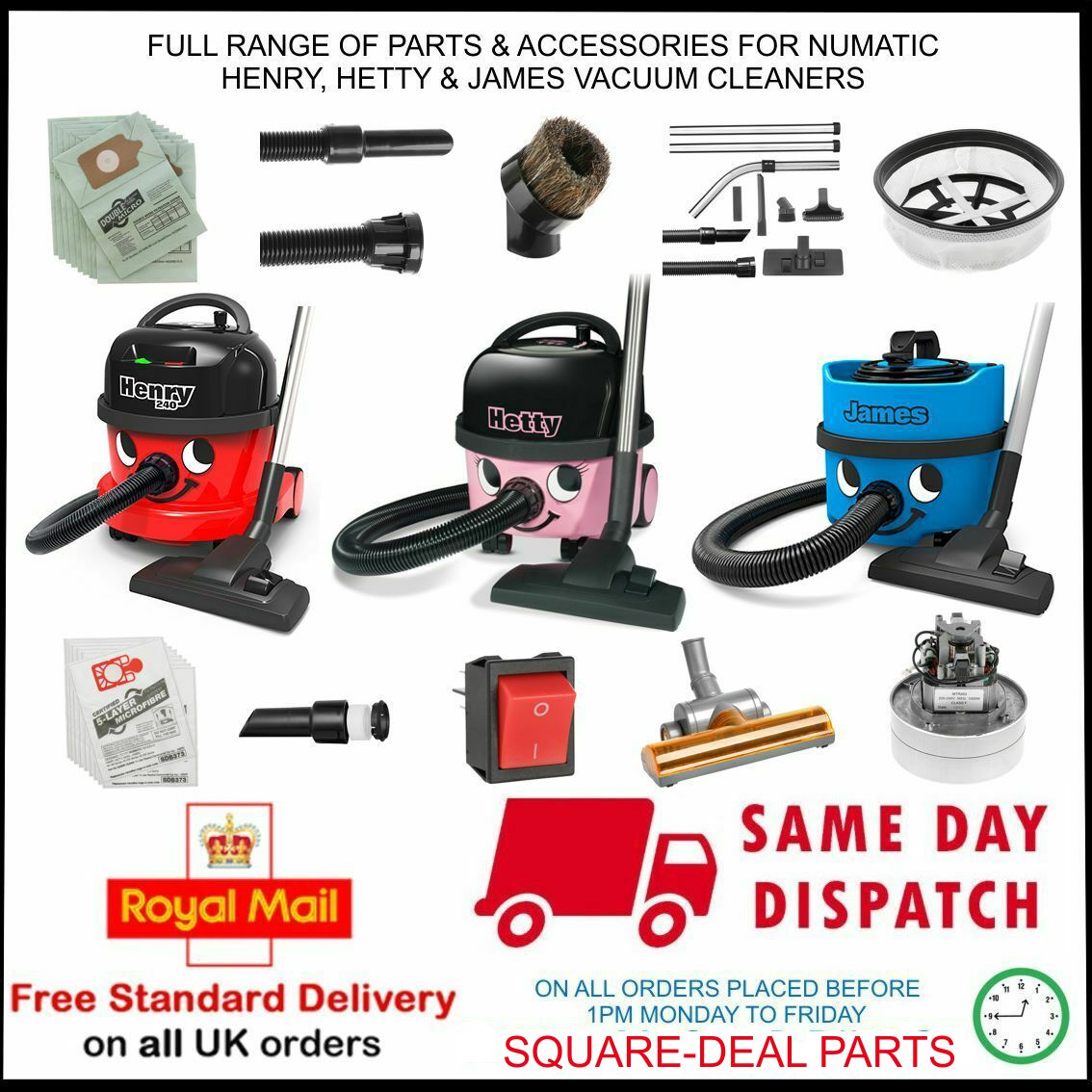 NUMATIC HENRY HETT JAMES SPARE PARTS ACCEORIE
